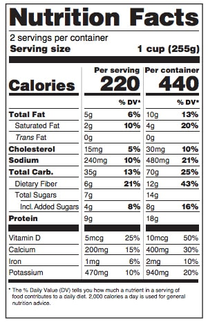 Two Serving Size Nutrition Fact Label