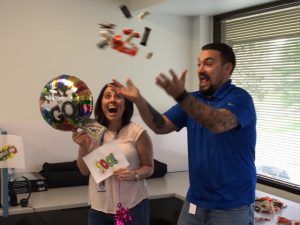 Melissa Richardson and Matt Bergey celebrating 100 hires at Deacom.