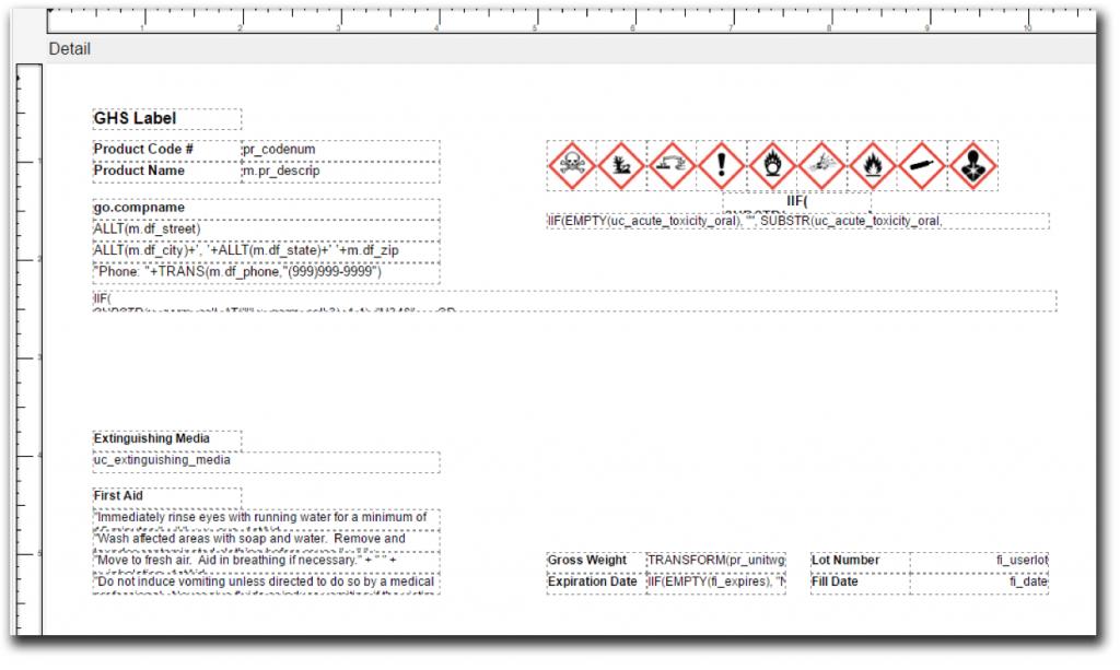 GHS Form Design in DEACOM ERP