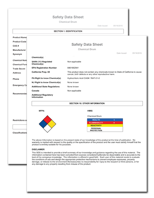 Safety Data Sheet (SDS) example generated by DEACOM ERP software