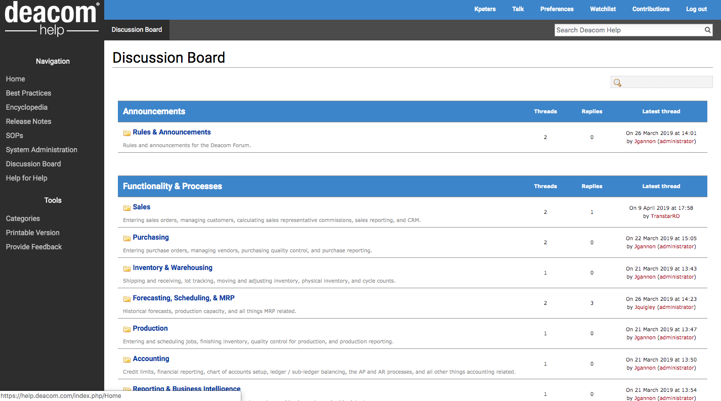 Deacom Discussion Board